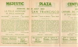 Pub Reclame Ciné Cinema Bioscoop - Programma Majestic Plaza Century Rex - Gent - 21 Augustus 1953 - Publicité Cinématographique