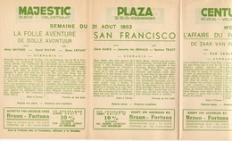 Pub Reclame Ciné Cinema Bioscoop - Programma Majestic Plaza Century Rex - Gent - 21 Augustus 1953 - Bioscoopreclame