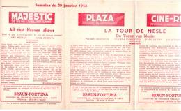 Pub Reclame Ciné Cinema Bioscoop - Programma Majestic Plaza Century Rex - Gent - 20 Januari 1956 - Bioscoopreclame