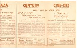 Pub Reclame Ciné Cinema Bioscoop - Programma Majestic Plaza Century Rex - Gent - 24 April 1953 - Bioscoopreclame