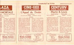 Pub Reclame Ciné Cinema Bioscoop - Programma Majestic Plaza Century Rex - Gent - 7 Mei 1955 - Bioscoopreclame