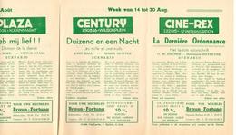 Pub Reclame Ciné Cinema Bioscoop - Programma Majestic Plaza Century Rex - Gent - 14 Tot 20 Augustus - Publicité Cinématographique