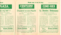 Pub Reclame Ciné Cinema Bioscoop - Programma Majestic Plaza Century Rex - Gent - 14 Tot 20 Augustus - Bioscoopreclame