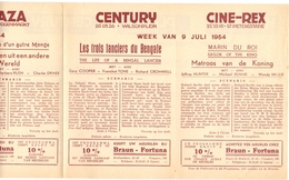 Pub Reclame Ciné Cinema Bioscoop - Programma Majestic Plaza Century Rex - Gent - 9 Juli 1954 - Publicité Cinématographique