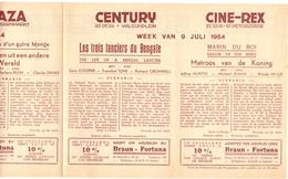 Pub Reclame Ciné Cinema Bioscoop - Programma Majestic Plaza Century Rex - Gent - 9 Juli 1954 - Bioscoopreclame