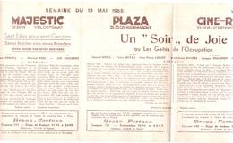 Pub Reclame Ciné Cinema Bioscoop - Programma Majestic Plaza Century Rex - Gent - 13 Mei 1955 - Bioscoopreclame