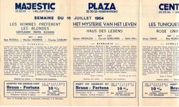 Pub Reclame Ciné Cinema Bioscoop - Programma Majestic Plaza Century Rex - Gent - 16 Juli 1954 - Publicité Cinématographique
