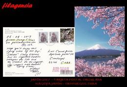 ASIA. JAPÓN. ENTEROS POSTALES. TARJETA POSTAL CIRCULADA 2017. NAGOYA. JAPÓN-CIENFUEGOS. CUBA. MONOS. FLORES. MONTE FUJI - 1989-... Keizer Akihito (Heisei-tijdperk)