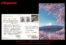 ASIA. JAPÓN. ENTEROS POSTALES. TARJETA POSTAL CIRCULADA 2017. NAGOYA. JAPÓN-CIENFUEGOS. CUBA. MONOS. FLORES. MONTE FUJI - 1989-... Kaiser Akihito (Heisei Era)