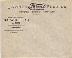 Pub Reclame - Enveloppe Omslag - Garage Elias - Auto's Ford Lincoln Fordson - Maldegem - Advertising