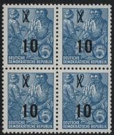 DDR 1954 - Mi-Nr. 437 I M YI ** - MNH - Viererblock - BPP Geprüft - [6] Oost-Duitsland