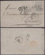 """ALSACE Yv 6 SUR LETTRE DE """"COLMAR"""" 25/09/1871 VERS EPINAL TAXE TAMPON 25 (8G35203) DC-3875 - Alsace-Lorraine"""
