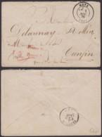 """ALSACE  LETTRE DE METZ 01/11/1870 CACHET ROUGE """"FRANCO-STEMPER"""" TAXE CRAYON 2(8G35203) DC-3881 - Elsass-Lothringen"""