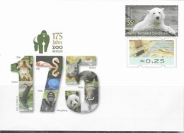 GERMANY, 2019, MINT POSTAL STATIONERY, PREPAID ENVELOPE, POLAR BEARS, 175 YEARS BERLIN ZOO, RHINOS, BIRDS, GORILLAS - Bears