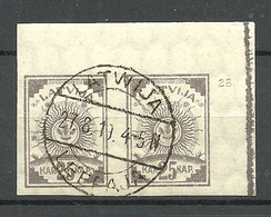 LATVIA Lettland 1919 Michel 20 Bogenecke Mit Farbstrich O - Lettland