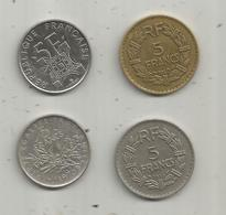 FRANCE , Monnaie, 5 Francs 1935 , 1940 ,1970 , Tour Eiffel 1989 ,  2 Scans , LOT DE 4 MONNAIES - Münzen & Banknoten