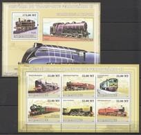 T1309 2009 MOCAMBIQUE TRAINS HISTORIA DO FERROVIARIO 2 1SH+1BL MNH - Trains