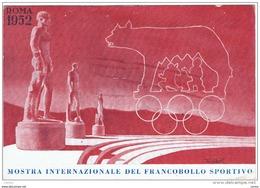 ROMA  1952:  CARTOLINA  ORIGINALE  I°  MOSTRA  INTERNAZ. DEL  F.LLO  SPORTIVO  -  SASS. 684 +  ERINNOFILO  -  FG - Manifestazioni