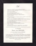 14-18 Médaille De La REINE ELISABETH Valentine De LHONEUX Baronne Van ZUYLEN 1884-1963 Huy Doodsbrief - Décès