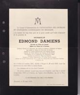 IXELLES BRUGES Brasseur Edmond DAMIENS 1881-1939 Association Des Patrons Et Ingénieurs Catholiques - Décès