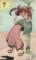 Cartolina Umorist., Ubriaca Sogna Bicchiere Di Vino Nel Sole, Riproduzione Da Orig., Reproduction, Illustrazione, (F35) - Humor