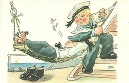 Cartolina Umorist., Marinaretto Taglia La Corda Dell'Amaca, Riproduzione Da Orig., Reproduction, Illustrazione, (F37) - Humor