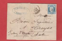 Seine Et Marne - Nangis - GC 2599 Sur Type Cérès LAC Putois Distillateur 1874 - Marcophilie (Lettres)