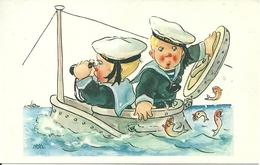 Cartolina Umorist., Marinaretti Che Pescano, Riproduzione Da Orig., Reproduction, Illustrazione, (F38) - Humor