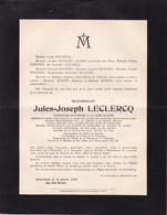 SCHAERBEEK KORTENBERG Jules-Joseph LECLERCQ 1928 Envoyé Extraordinaire Du Roi Léopold II Académie Royale De VAULX - Décès