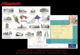 ASIA. MALAYSIA. ENTEROS POSTALES. TARJETA POSTAL CIRCULADA 2017. KUALA LUMPUR. MALAYSIA-CIENFUEGOS. CUBA. FAUNA SALVAJE - Malasia (1964-...)