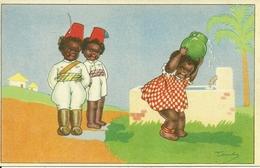 Cartolina Umor., Piccoli Negri All'Oasi, Riproduzione Da Orig., Reproduction, Illustrazione, Tomba Illustratore (F40) - Humor
