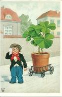 Bambino Che Traina Vaso Di Quadrifogli, Riproduzione Da Orig., Reproduction, Illustrazione, (F42) - Humor