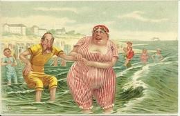 """Cartolina Umoristica, Al Mare """"il Bagno"""", Riproduzione Da Orig., Reproduction, Illustrazione, (F43) - Humor"""