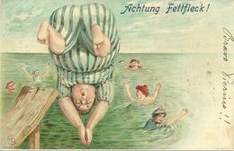 """Cartolina Umoristica, Al Mare """"il Tuffo"""", Achtung Fettfleck!, Riproduzione Da Orig., Reproduction, Illustrazione, (F44) - Humor"""