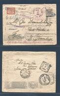 DUTCH INDIES. 1904 (July) Tui Badak - Gravenhague, Netherlands. Multifkd 10c Ovptd To Lilac Stationary Envelope Blue Box - Nederlands-Indië