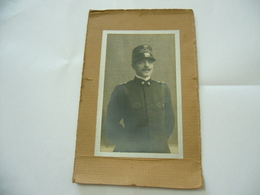WW1 CDV FOTO RITRATTO VIGILE DEL FUOCO UNIFORME FIRE MAN 1916 CON DEDICA. - Guerra, Militari