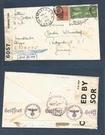 GIBRALTAR. 1940 (6 May) Gibraltar Transit. Cleveland, OH, USA - Germany, Berlin. Giibraltar Censor Label + Nazi Censorsh - Gibraltar