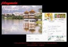 ASIA. SINGAPUR. ENTEROS POSTALES. TARJETA POSTAL CIRCULADA 2017. SINGAPUR-CUBA. ARQUITECTURA TRADICIONAL - Singapore (1959-...)