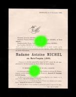 BOMBAYE 1900 Décès De Madame Antoine MICHEL Née Anne Françoise LAVAL / Imprimé Chez Mathot à Visé - Décès