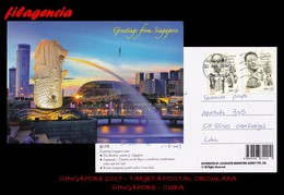ASIA. SINGAPUR. ENTEROS POSTALES. TARJETA POSTAL CIRCULADA 2017. SINGAPUR-CUBA. EJÉRCITO & POLICÍA - Singapore (1959-...)