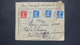 Lettre Chargé Valeur Déclarée 450 Fr Semeuse N° 140 X 3 + 138 Bordeaux Pour Strasbourg Alsace 1908 - Postmark Collection (Covers)