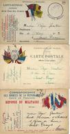 CARTE-CORRESPONDANCE-GUERRE-FRANCHISE MILITAIRE-TOURING CLUB DE FRANCE-ZONE DES ARMÉES-DRAPEAUX-PHILATELIE - War 1914-18