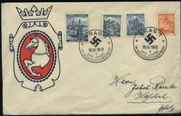 WW II Böhmen Und Mähren Sonder Briefumschlag: Gebraucht Mit Böhmen Und Mähren Briefmarken Und Sonderstempel Prag - Haß - Alemania