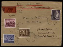 WW II DR 2 Mark 800 B Adolf Hitler + Wehrmacht II MiF Auf Wert - Briefumschlag: Gebraucht Dresden - Saarbrücken 1944, - Briefe U. Dokumente