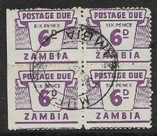 Zambia, 1964, 6d, Postage Due, Left Marginal Block Of 4, Used - Zambia (1965-...)