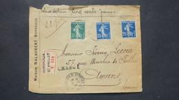 Lettre Chargé Valeur Déclarée 500 Fr Semeuse N° 140 X 2 + 137 Bordeaux Pour Amiens Somme - Postmark Collection (Covers)