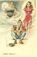 Dubbio Amletico, Donna Ricca O Donna Bella ?, Riproduzione Da Orig., Reproduction, Illustrazione, (F54) - Humor