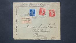 Lettre Chargé Valeur Déclarée 300 Fr Semeuse N° 140 + 138 X2 Bordeaux Pour Beauvais Poste Restante 1913 - Postmark Collection (Covers)