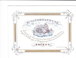 519/29 -- BRUGES CARTE PORCELAINE - SUPERBE Carte Illustrée Bardin , Relieur - Litho Années 1840/50 - Cartes De Visite