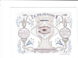 521/29 -- BRUGES CARTE PORCELAINE - Carte Illustrée Charpentier Menuisier De Jonghe - Litho Années 1840/50 - Tarjetas De Visita